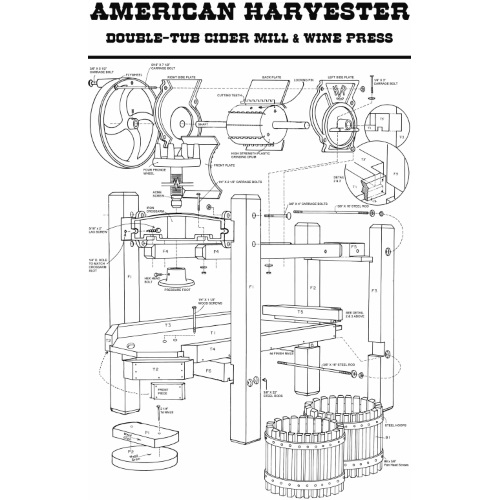 American Harvester Cider Mill and Wine Press Complete Package- Double-Tub Press with Motor and more!